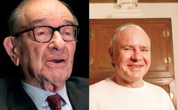 Finanzexperten und Ex-Kollegen: Der frühere Fed-Chef Alan Greenspan (li.) und der Crash-Prophet Marc Faber. Fotos: Getty Images