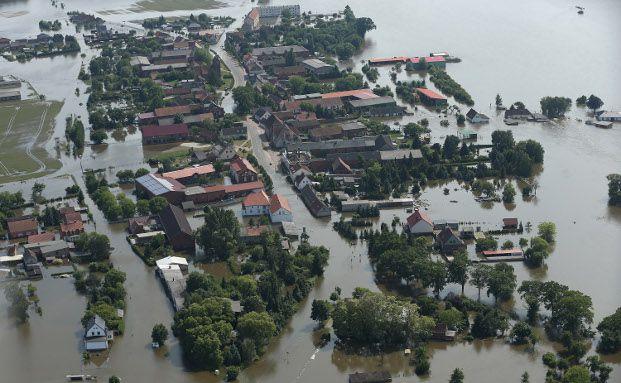 Fischbek in Sachsen Anhalt, letzten Samstag brach hier ein Deich. Mehrere Dörfer wurden evakuiert. Quelle: gettyimages