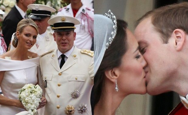 Haben sich getraut: Charlene und Prinz Albert (links)<br>sowie Kate und Prinz William. Fotos: Getty