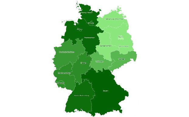 Die Grafik bildet ab, wie viel Prozent der deutschen Anleger pro Bundesland in Immobilien investiert sind.