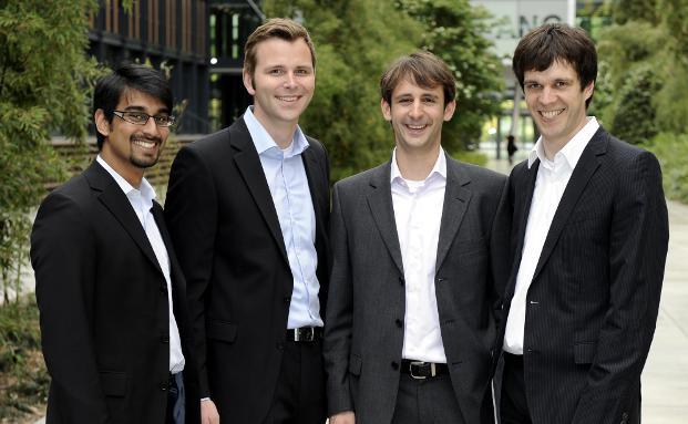 Innovestment-Gr&uuml;nder, v.l.: Filipe da Costa,<br>Daniel Appelhoff, Alexander Rajko, Norbert T&ouml;pker<br>(Foto: Oliver Schulze, K&ouml;ln)