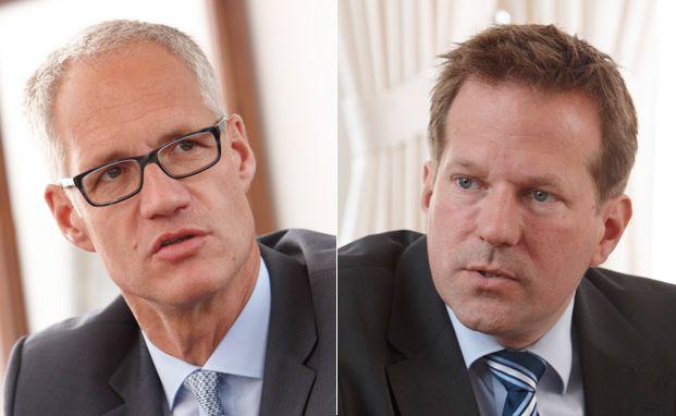 """Stephan Isenberg, Vorstand bei der Bethmann Bank (links), und Marc Bohling, Leiter """"External Asset Managers"""". Foto: Tom Hoenig"""