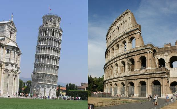Colosseum und schiefer Turm von Pisa: Etwas zugig und <br> schräg – dafür sind italienische Immobilien bekannt. <br> Quelle: Pixelio