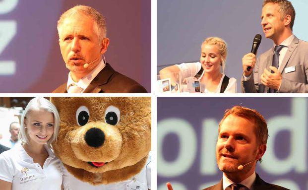 Norbert Porazik (r.o.), Geschäftsführer der Fonds Finanz Maklerservice, lud zur 6. KVK-Messe mit Star-Rednern wie Dirk Müller (o.l.) und Daniel Bahr (u.r.). Fotos: Fonds Finanz