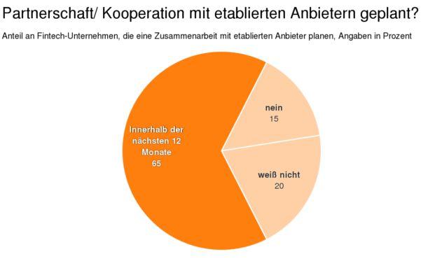 Wie viele Fintechs planen eine Partnerschaft oder Kooperation mit etablierten Anbietern, in Prozent