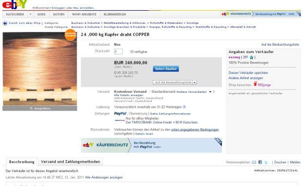 Kupfer-Kauf auf Ebay
