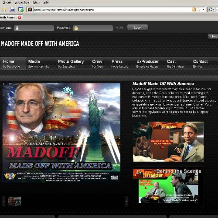 Die Homepage des neuen Madoff-Films