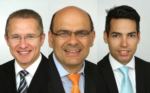 Adrian Daniel (l), Frank Schwarz und Patrick Vogel