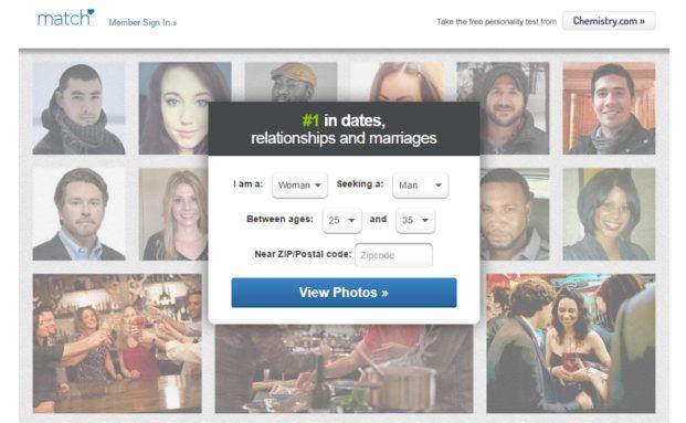 Die Singlebörse Match.com. Match zählt zu den Tech-Unternehmen, die bei ihren Börsengängen weniger Geld einsammelten als erwartet. Bild: Screenshot Match.com