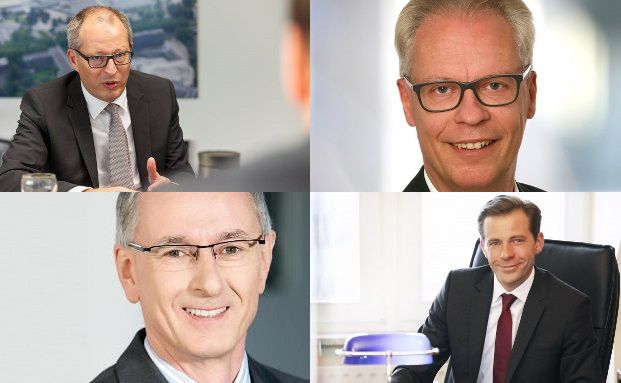 Christian Nuschele, Standard Life (oben links) / Finanzcoach Lothar Schmidt (oben rechts) / Manfred Bauer, MLP (unten rechts) und Oliver Drewes, Maxpool