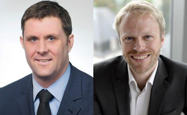 Reduzieren Schwankungen im Fondsportfolio auf unterschiedlichen Wegen: Invesco-Manager Thorsten Paarmann (links) und Marc Erpelding von Banque de Luxembourg Investments