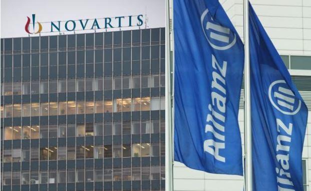 Zwei der Large Caps, welche die drei Fondsmanager des Invesco Pan European High Income kaufen: Novartis und Allianz (Fotos: Getty Images)
