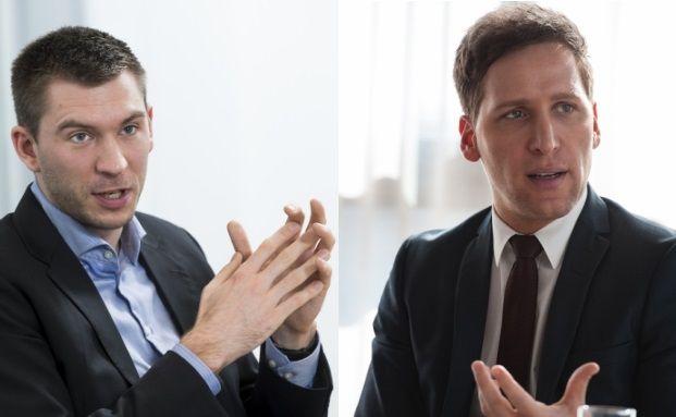 Vereinzelte Zukäufe nach dem Brexit-Votum: Fondsmanager Marc Profitlich (links) und Ufuk Boydak. Foto: Lutz Sternstein & Martin Kaemper