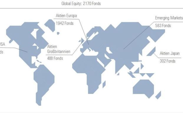Eine Übersicht über die geographischen Investmentschwerpunkte: Über 6.200 untersuchten Fonds bringen ein Vermögen von 1.637 Millarden Euro per Anfang Februar 2016 auf die Waage. Grafik: Morningstar
