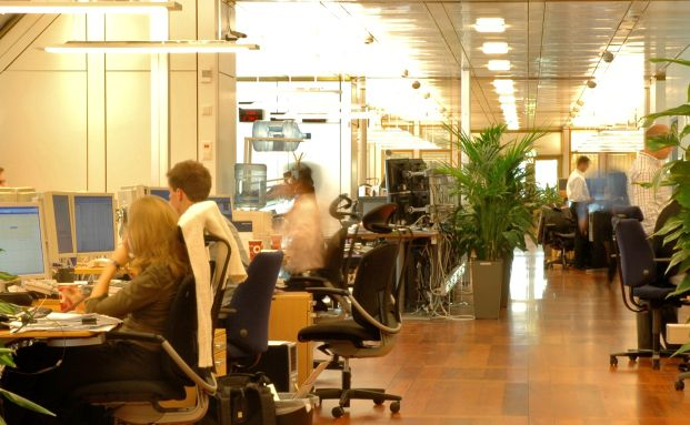 Handelssaal der Norges Bank. Hier werden die Aktien f&uuml;r<br>Norwegens staatlichen Pensionsfonds ge- und verkauft<br>(Foto: Norges Bank).