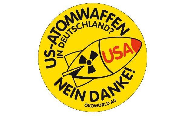 US-Atomwaffen in Deutschland? Nein danke: Mit diesem Aufkleber wird Ökoworld gegen die US-Atomraketen aktiv. (Quelle: Ökoworld)