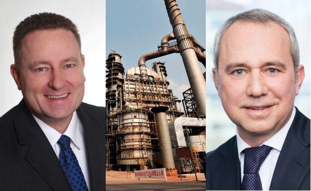 Von links: Uwe Eilers von Geneon Vermögensmanagement, Ölraffinerie im chinesischen Wuhan (Quelle: Getty Images), Uwe Zimmer von Meridio