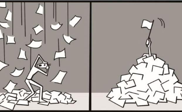 Papierflut: Auf die Bafin warten 1,2 Millionen Seiten Zulassungsanträge. (Illustration: Manuela Mrohs)