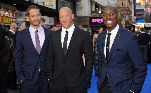 Paul Walker (li.) mit seinen Schauspielkollegen Vin Diesel (mi.) und Tyrese Gibson bei der Weltpremiere von Fast & Furious 6 in London (Foto: Getty Images)