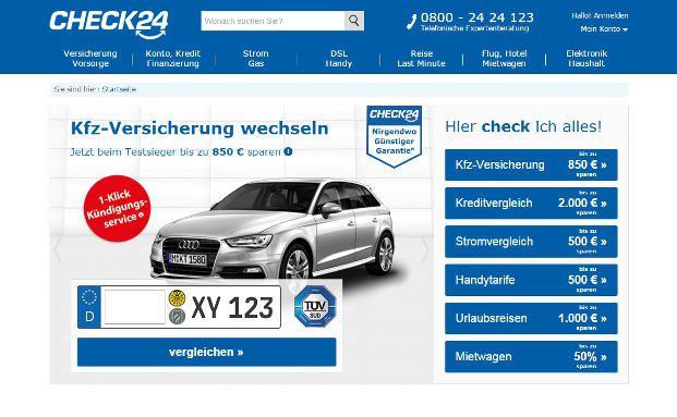 Das Angebot von Vergleichsportalen wie Check24 hat Ökotest nun untersucht. Bild: Screenshot check24.de