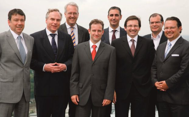 Die Teilnehmer am Roundtable (v. li.): Klaus-Dieter Erdmann, <br> Johannes Hirsch, Georg von Wallwitz, Markus Kaiser, <br> Gerd H&auml;cker, G&ouml;khan Kula, Martin St&uuml;rner und Stefan Ferstl
