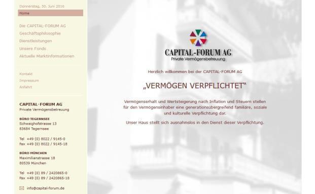 Aktueller Screenshot von der Homepage der Capital-Forum AB. Bald wird es keine Vermögensverwaltung und kein Büro mehr in München geben