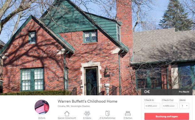 In diesem Haus in Omaha lebte Warren Buffett von 1936 an. (Screenshot Airbnb-Angebot)