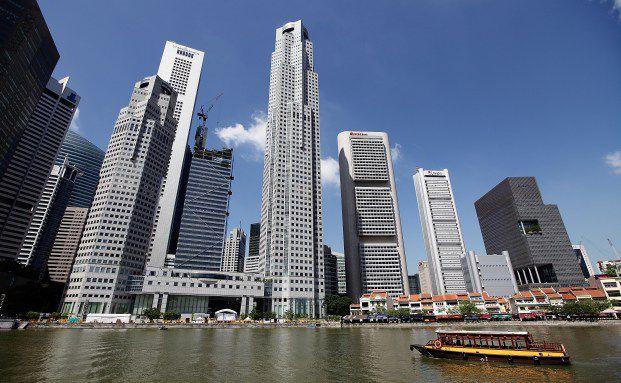 Das Gesch&auml;ftsviertel von Singapur. Nach der Prognose <br> von Deloitte wird das Land 2015 die reichsten Million&auml;re <br> der Welt haben. Quelle: Getty Images