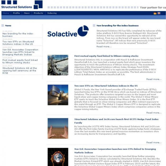 Webseite von Solactive
