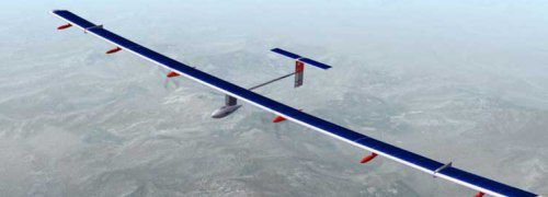 """So breit, dass es nicht einmal ins Bild passt:<br> Solarflugzeug """"Solar Impulse"""""""