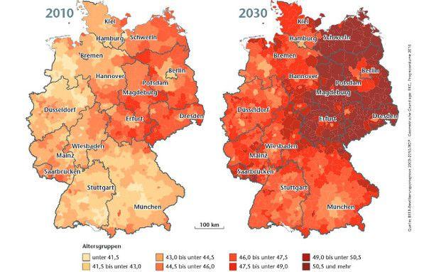 Ab 2025 wird deutlich weniger Wohnraum benötigt. (Foto: BBSR-Bevölkerungsprognose 2009-2030/ROP - Geometrische Grundlage: BKG, Prognoseräume 2010)