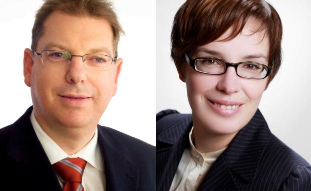 Susanne Woda (rechts) Portfoliomanagerin bei GVS Financial Solutions und Wolfgang Juds (links), Geschäftsführer von Credo Vermögensmanagement in Nürnberg (Foto: GVS, Credo)