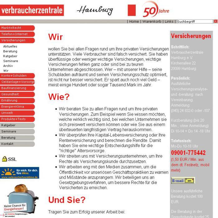 Internetseite der Verbraucher-<br>zentrale Hamburg