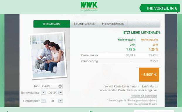 Screenshot des Rechners der WWK. Quelle: WWK