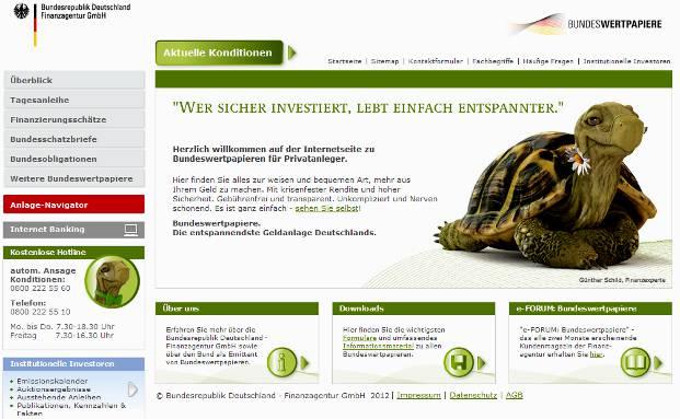 Internetauftritt der Finanzagentur des Bundes mit Günther Schild