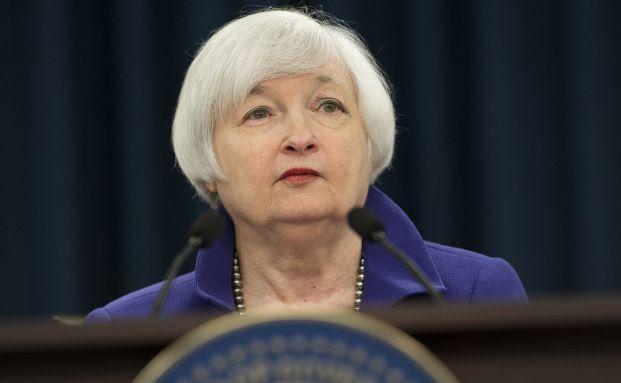 Janet Yellen, Vorsitzende der Fed, auf einer Pressekonferenz im Dezember 2015. Foto: Getty Images