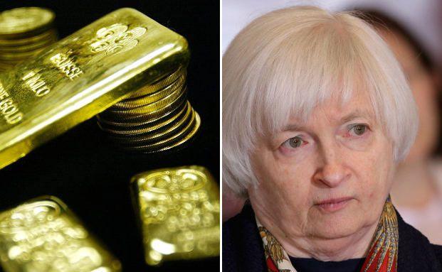 Goldbarren- und Münzen auf der linken-, Fed-Chefin Janet Yellen auf der rechten Seite. Fotos: Getty Images