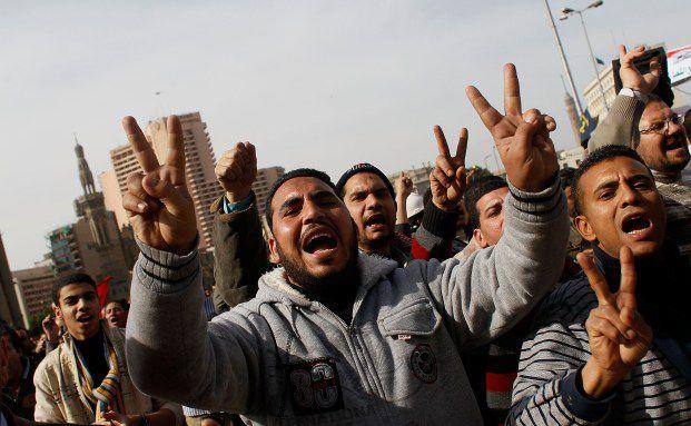 Demonstranten auf dem Tahrir-Platz in Kairo am 3.2.2011 <br> Quelle: Getty Images
