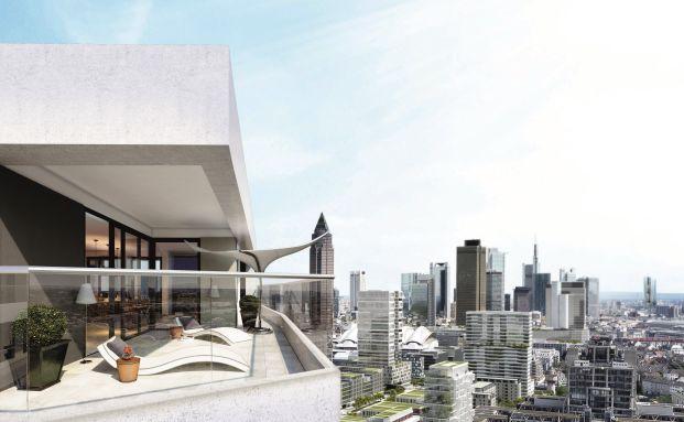 Begehrt: Luxus-Eigentumswohnung über den Dächern der Bankenmetropole Frankfurt. (Foto: Cadman/Wilma Wohnen Sued GmbH)