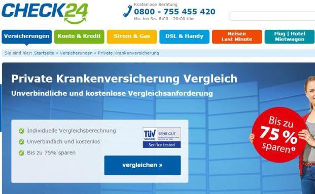 Website des Vergleichsportals Check24