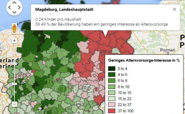 Screenshot von der interaktiven Karte auf Faz.net
