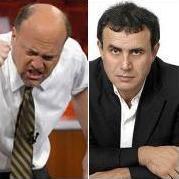 Jim Cramer, Nouriel Roubini <br> Quelle: CNBC, RGE-Monitor
