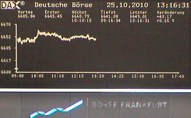 Die Börse in Frankfurt. Die Deutschen blicken positiv in die Zukunft.