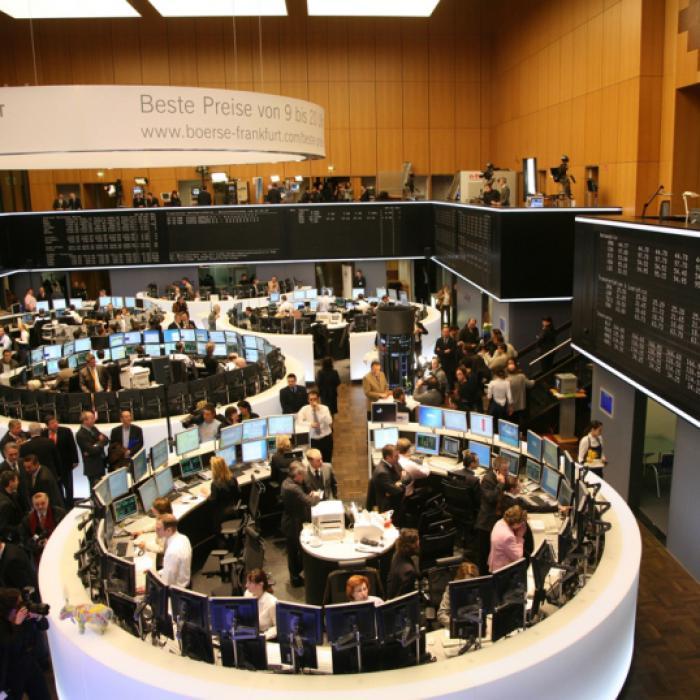 Der Handelssaal der <br>Deutschen B&ouml;rse