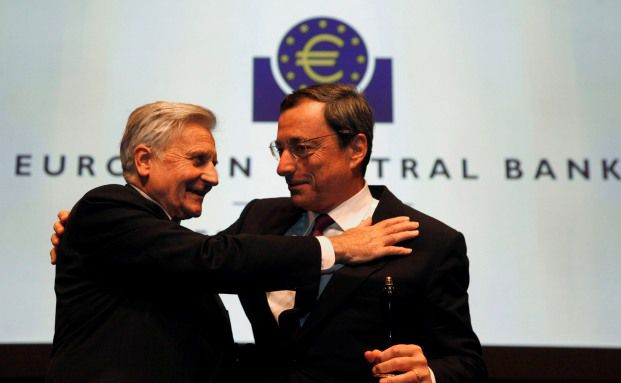Jean-Claude Trichet (li.) mit Mario Draghi. <br> Quelle. Getty Images