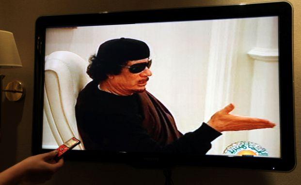 Muammar al-Gadaffi bei einem Fernseh-Auftritt. <br> Quelle: Getty Images