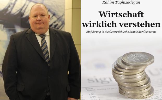 Detlev Glow und sein Lieblingsbuch.<br>Quelle: Finanzbuchverlag