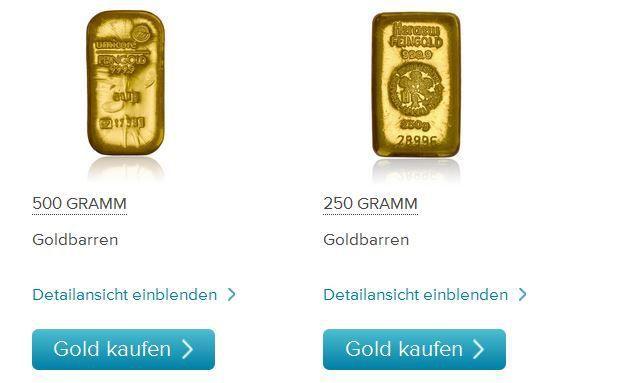 Online-Kauf von physischem Gold - jetzt bei Consorsbank möglich. Foto: Screenshot consorsbank.de