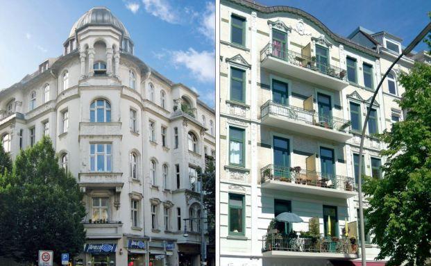 Ein Berliner (li.) und ein Hamburger Zinshaus. Gerade in der Hauptstadt boomt das Geschäft mit den Zinshäusern enorm.