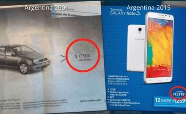 Der Peso 2001 und 2015: Für etwa dieselbe Summe bekommt man in Argentinien heute nur noch ein Smartphone